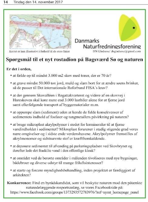 Danmarks Naturfredningsforening Gladsaxes spørgsmål til partierne om rostadionudvidelse på Bagsværd Sø