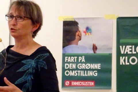 Trine Henriksen taler ved klimadebat 11. september 2018.