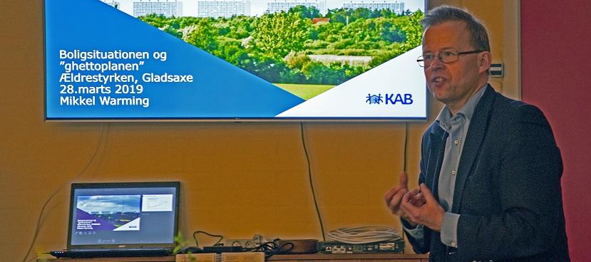 Mikkel Warming talte ved Ældrestyrkens møde i marts 2019 (foto: Carl Christian Lauridsen)