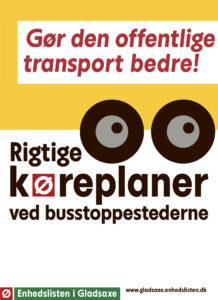 Annonce for rigtige køreplaner ved busstoppestederne