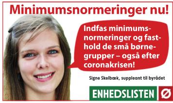Enhedsliste-annonce for minimumsnormeringer i daginstitutionerne