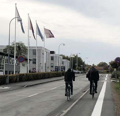Smalle cykelstier og fortove på Tobaksvej - foto: Michael Dorph Jensen