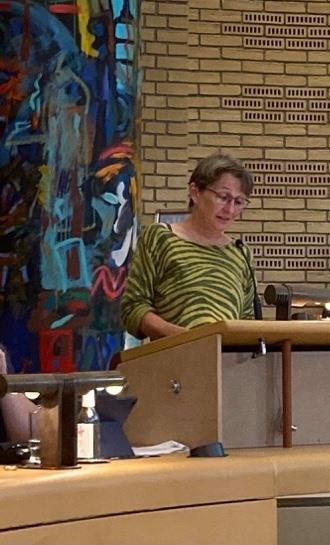 Trine Henriksen taler om budgettet i byrådet den 25. august 2021